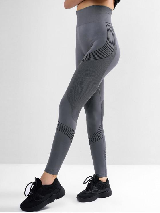 outfits Striped Skinny High Waisted Leggings - BLUE GRAY L