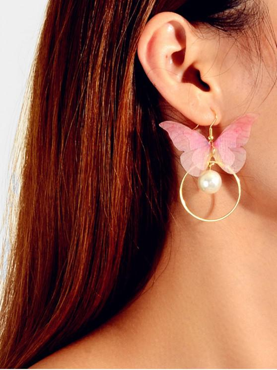 women's Faux Pearl Butterfly Circle Drop Earrings - LIGHT PINK