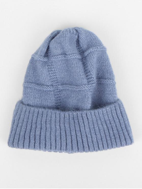ฤดูหนาวถักหมวกไหมพรมทำด้วยผ้าขนสัตว์ - สีน้ำเงินเทา