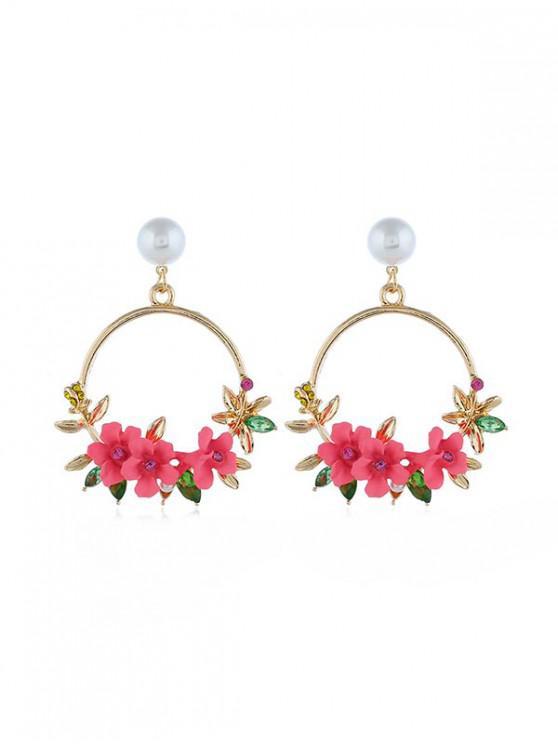 สไตล์ชนบทดอกไม้วงกลมวางหู - สีชมพู