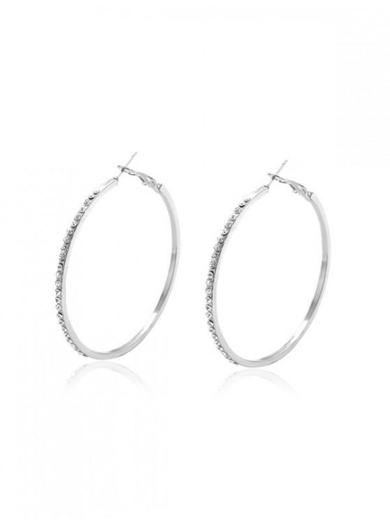latest Large Rhinestone Hoop Earrings - SILVER