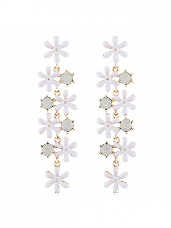 affordable Flower Shape Bohemia Tassel Dangle Statement Earrings - WHITE