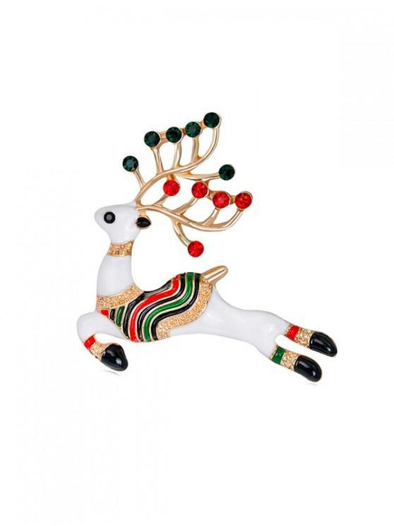 Navidad multicolor de la broche de ciervos con diamantes de imitación - Oro
