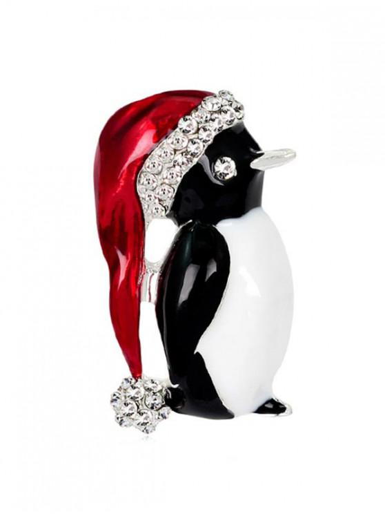 fashion Christmas Santa Hat Penguin Brooch with Rhinestone - SILVER