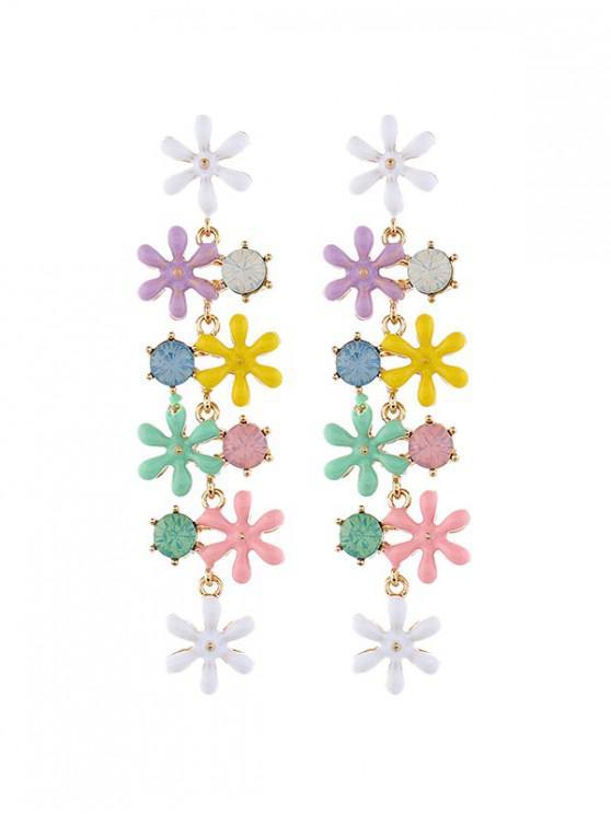 fancy Flower Shape Bohemia Tassel Dangle Statement Earrings - MULTI