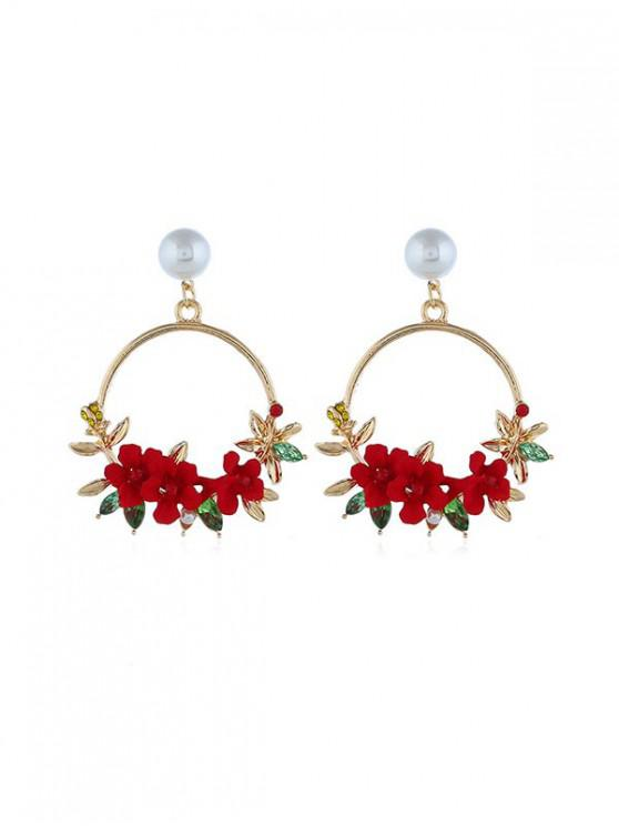 womens Rural Style Floral Circle Drop Earrings - RED