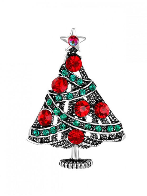 trendy Retro Christmas Tree Full Rhinestone Brooch - SILVER