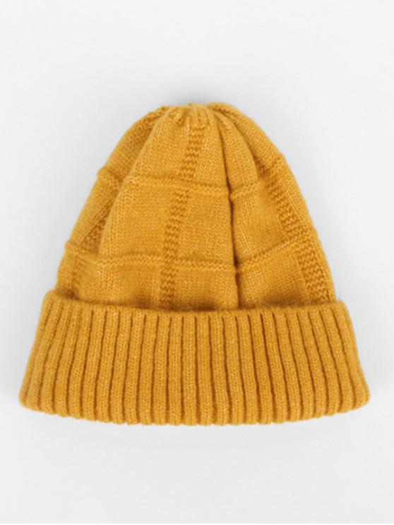 affordable Winter Knitted Woolen Yarn Hat - YELLOW