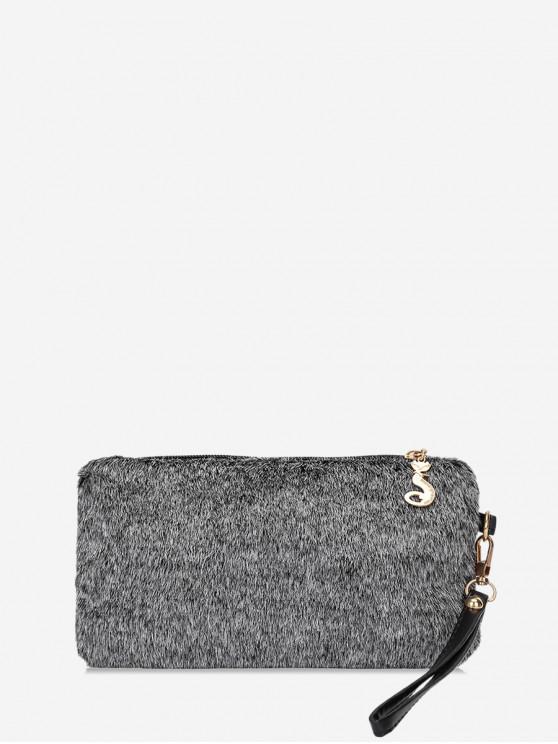 Plain Faux Fur pulso Clutch Bag - Cinza