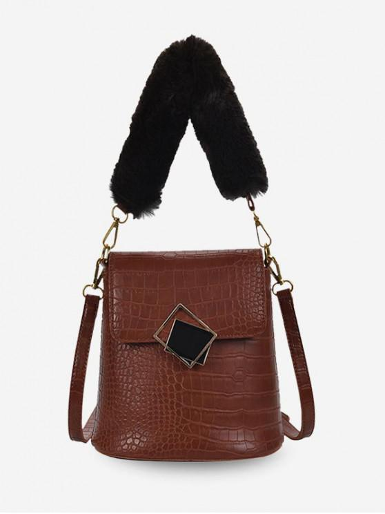 chic Plush Handle Animal Embossed Bucket Crossbody Bag - BROWN