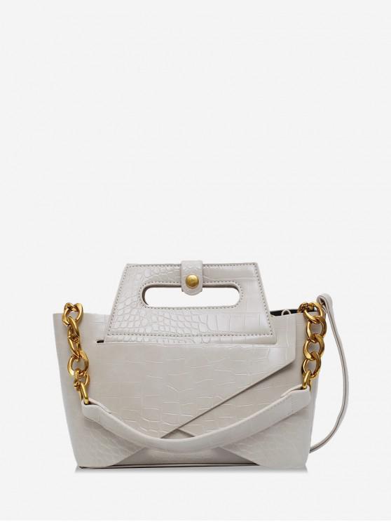 best Chain Embossed Handbag - BEIGE