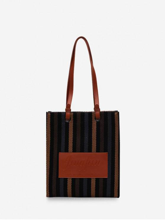 new Retro Vertical Striped Canvas Shoulder Bag - BROWN