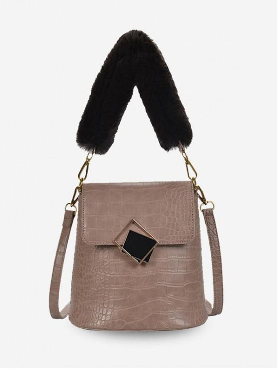 outfit Plush Handle Animal Embossed Bucket Crossbody Bag - KHAKI