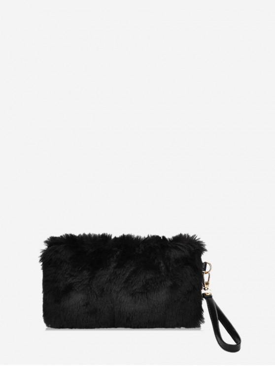 unique Plain Faux Fur Wrist Clutch Bag - BLACK