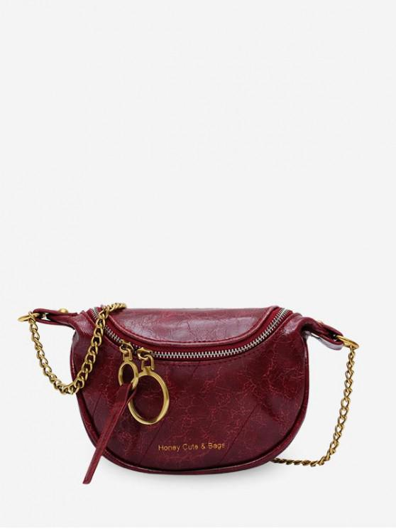 outfit Semicircle Crossbody Zipper Waist Bag - RED WINE