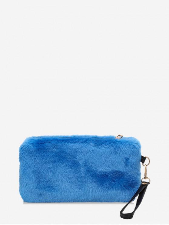 shops Plain Faux Fur Wrist Clutch Bag - OCEAN BLUE