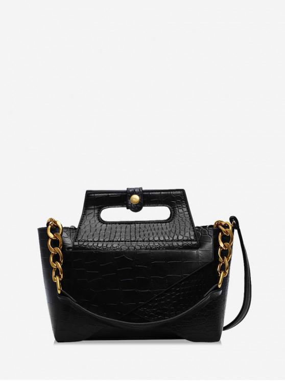 unique Chain Embossed Handbag - BLACK