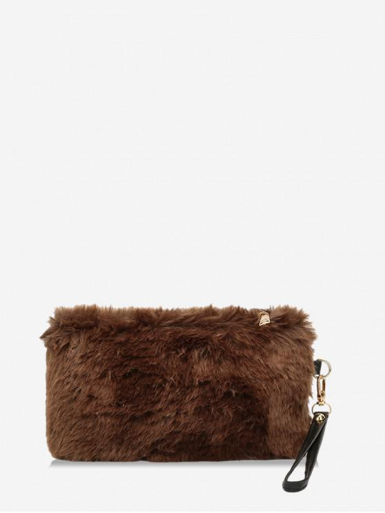 Plain Faux Fur pulso Clutch Bag - Café