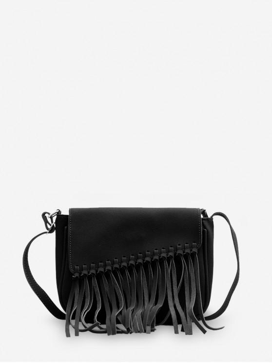 hot Plain Tassel Hem Flap Crossbody Bag - BLACK