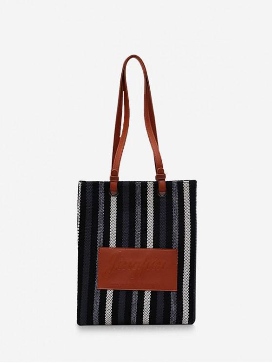 outfit Retro Vertical Striped Canvas Shoulder Bag - BLACK