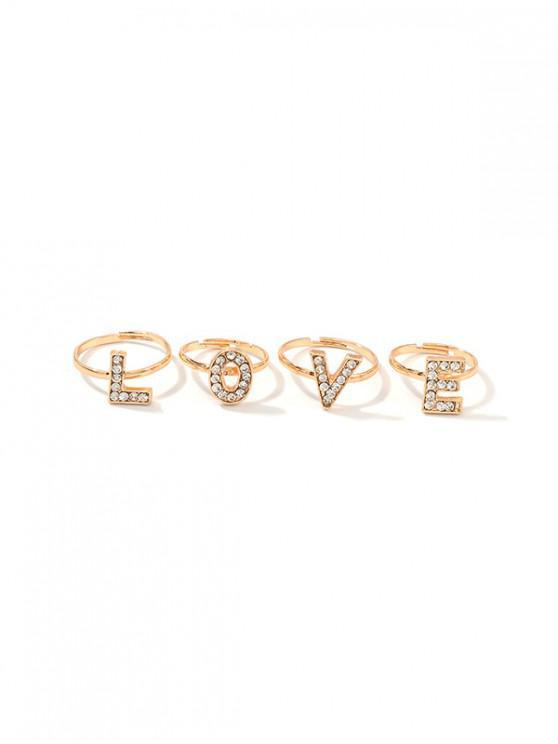 4pcs จดหมายเปิด Rhinestone แหวนชุด - ทอง