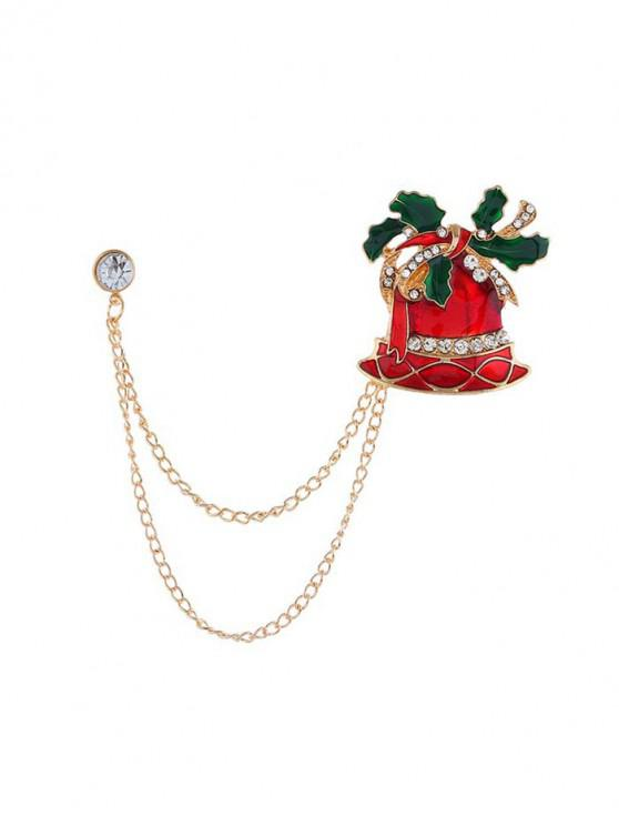 women Christmas Stocking Bell Hat Chain Brooch - GOLD CHRISTMAS BELL