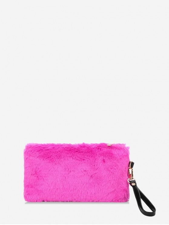 Plain Faux Fur pulso Clutch Bag - Rosa vermelha