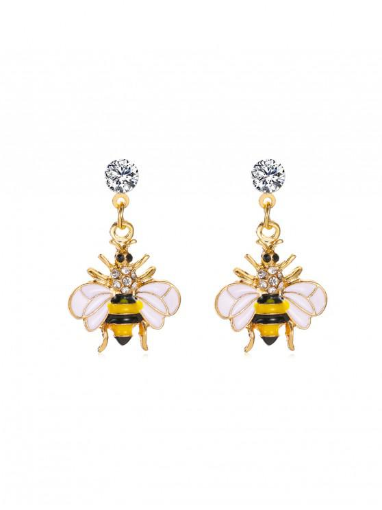 Los pendientes de gota Rhinestone abeja linda de la miel - Amarillo