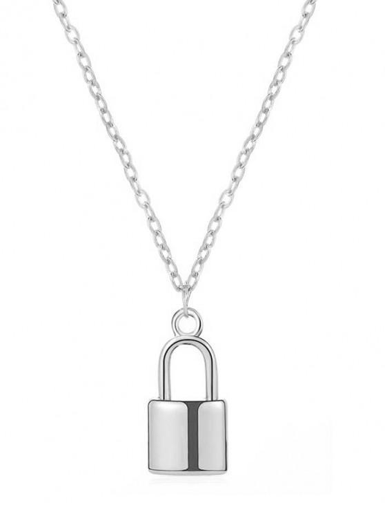 trendy Brief Lock Pendant Necklace - SILVER