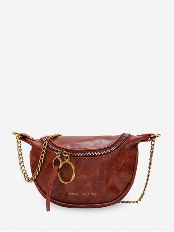 fancy Semicircle Crossbody Zipper Waist Bag - BROWN