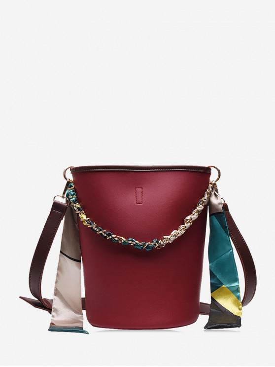 絲綢點綴斜挎水桶包 - 紅