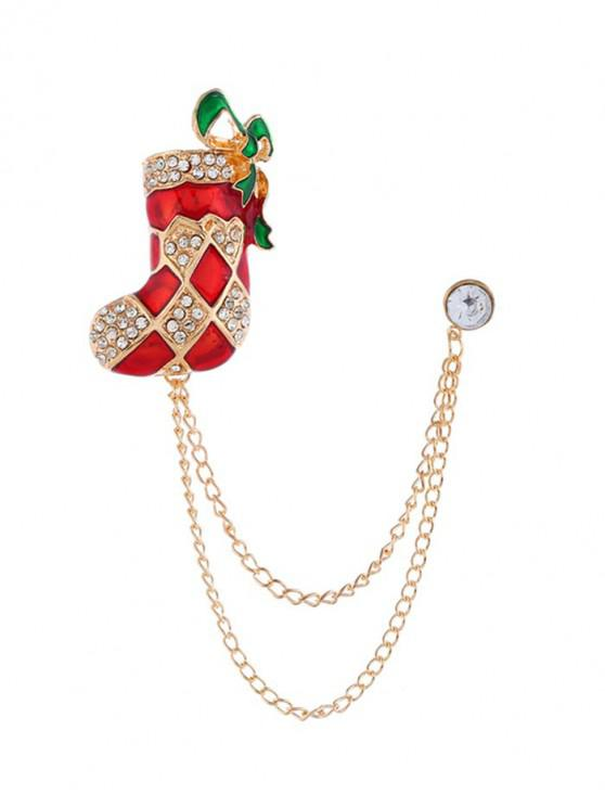 hot Christmas Stocking Bell Hat Chain Brooch - GOLD CHRISTMAS STOCKING