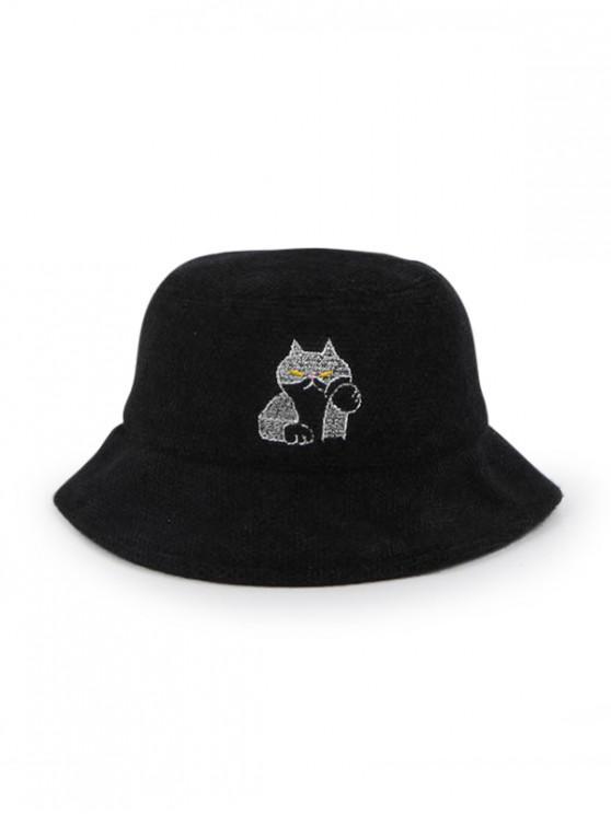 unique Cat Pattern Winter Woolen Bucket Hat - BLACK