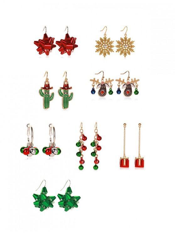 sale 8 Pairs Christmas Snowflake Elk Earrings Set - ACU CAMOUFLAGE