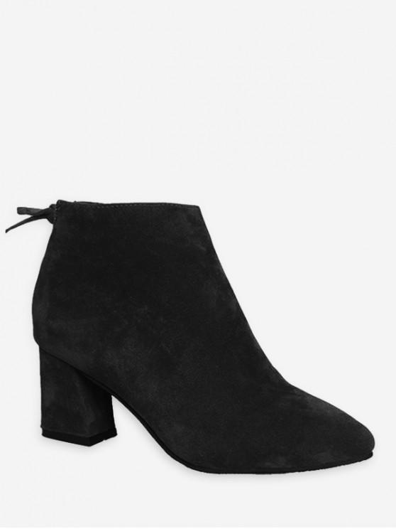 純色蝴蝶結設計休閒皮靴 - 黑色 歐盟37