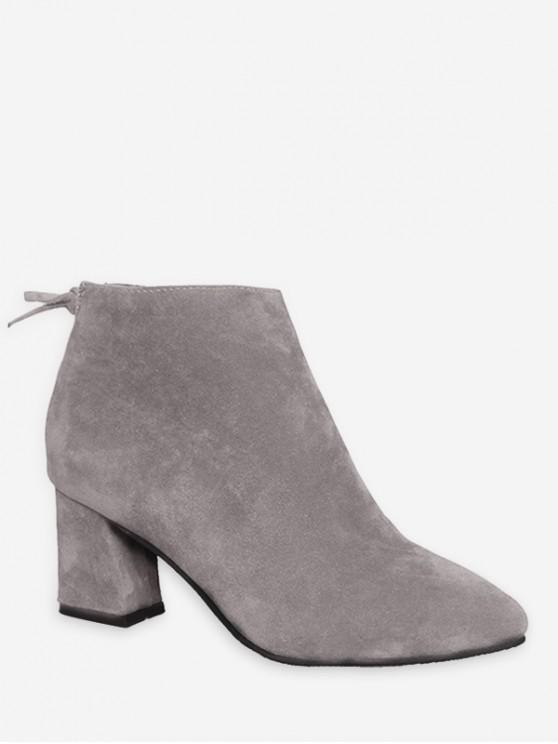 純色蝴蝶結設計休閒皮靴 - 灰色雲彩 歐盟39