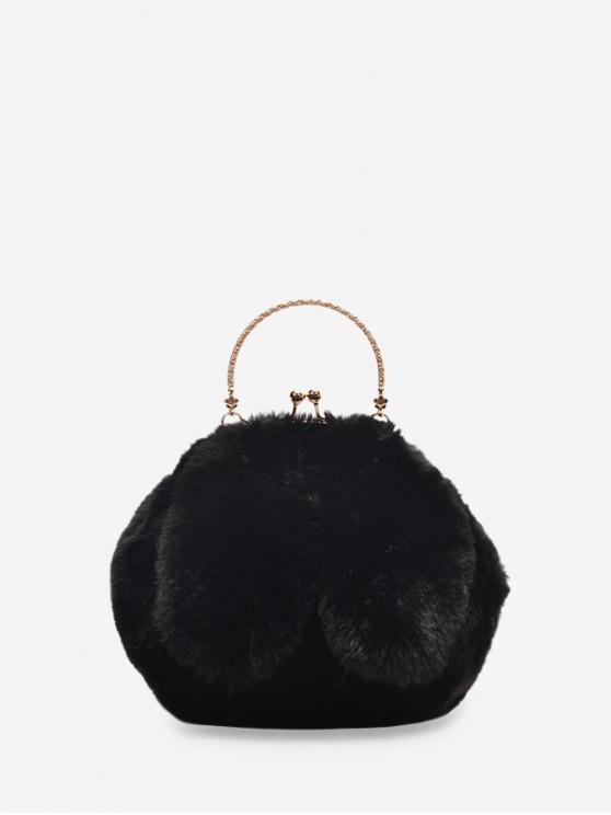 womens Cute Rabbit Ear Plush Mini Tote Bag - BLACK