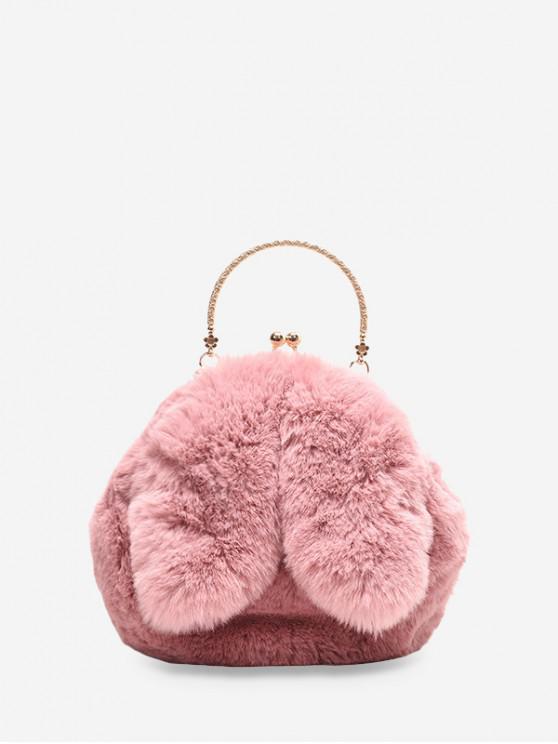 可愛的兔子耳朵毛絨迷你手提包 - 粉