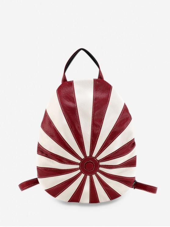Полосатый принт Кожаный Рюкзак - Красный