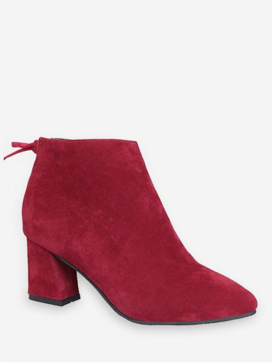 純色蝴蝶結設計休閒皮靴 - 紅酒 歐盟35