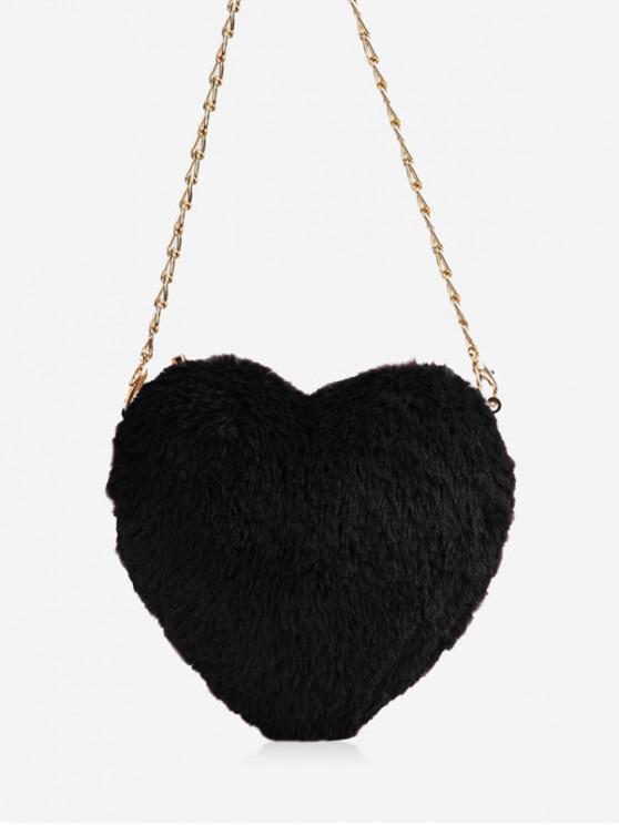 sale Christmas Faux Fur Mini Heart Crossbody Bag - BLACK