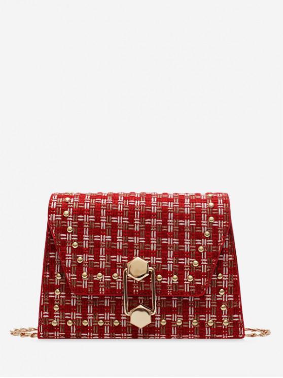 women's Antique Plaid Shoulder Bag - RED WINE