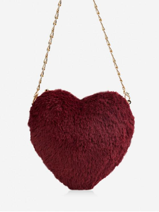 latest Christmas Faux Fur Mini Heart Crossbody Bag - RED WINE
