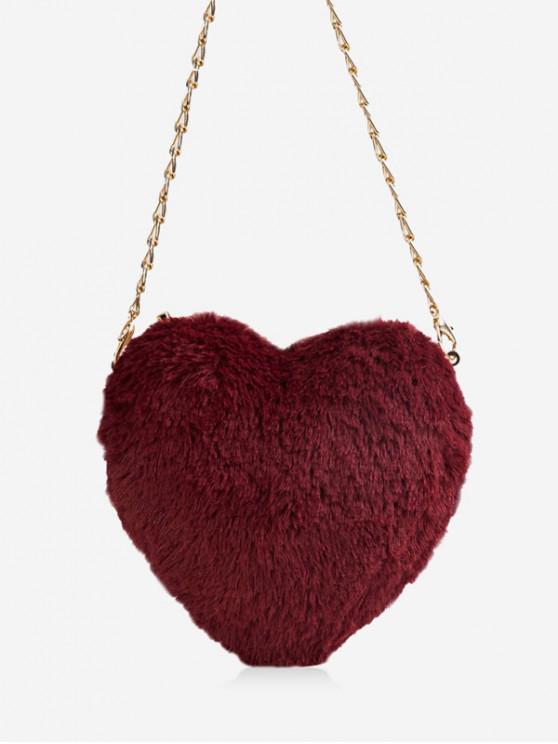 Navidad de la piel de imitación Mini Corazón Bolsa Crossbody - Vino Tinto