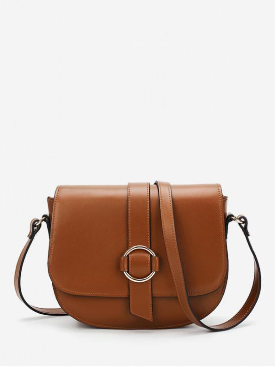 womens Crossbody Solid Cover Simple Shoulder Bag - BROWN