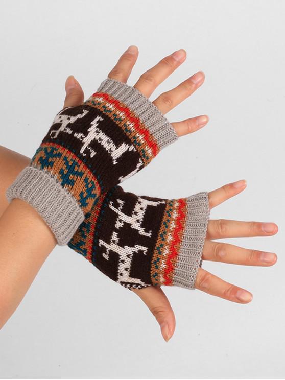 ladies Christmas Deer Knitted Fingerless Gloves - GRAY