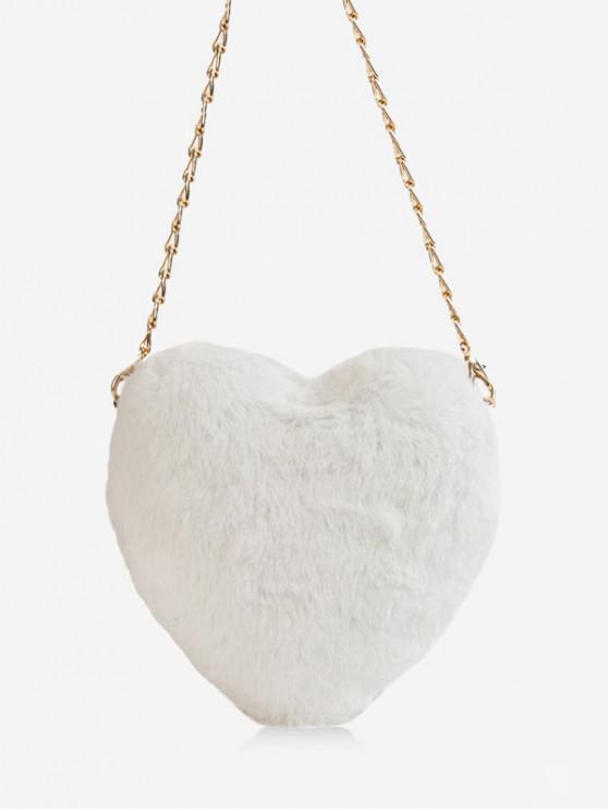 คริสมาสต์ขน Faux มินิหัวใจกระเป๋า Crossbody - นมขาว