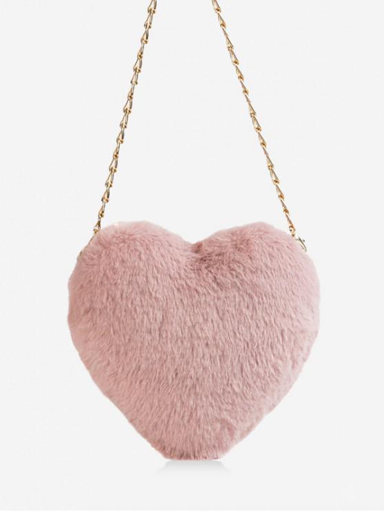 hot Christmas Faux Fur Mini Heart Crossbody Bag - PIG PINK
