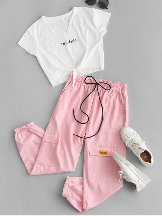 women Letter Crop Tee and Jogger Pants Set - PINK S