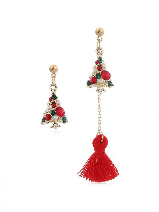 outfits Christmas Tree Bell Deer Tassel Asymmetry Earrings - RED CHRISTMAS TREE